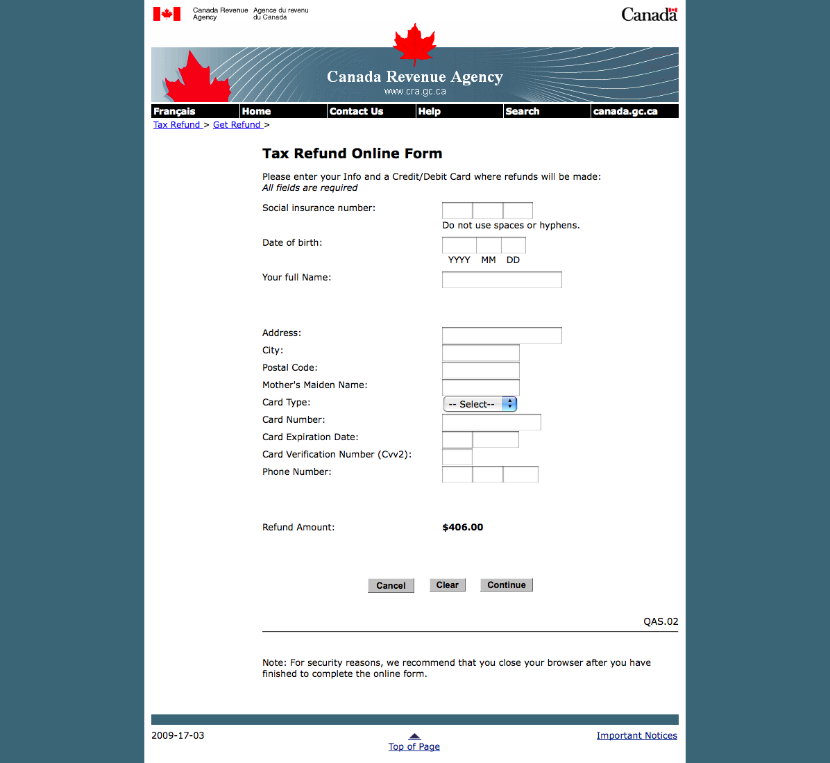 tax notice of assessment form code